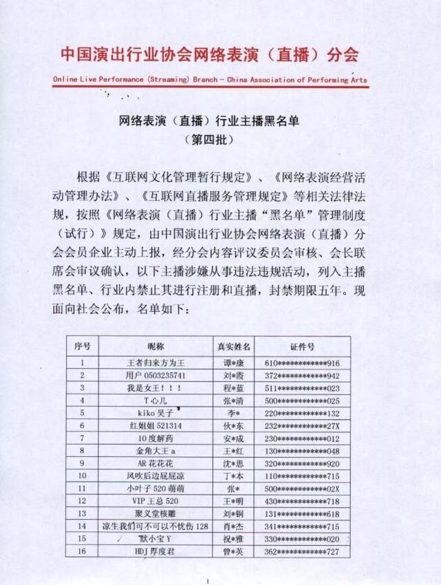 第四批网络主播黑名单公布 42名主播被封禁5年