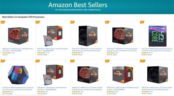 美国亚马逊最新的CPU畅销榜中,AMD独揽8席