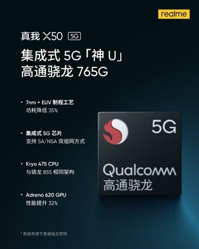 realme真我X50核心配置官宣 搭载高通骁龙765G移动平台