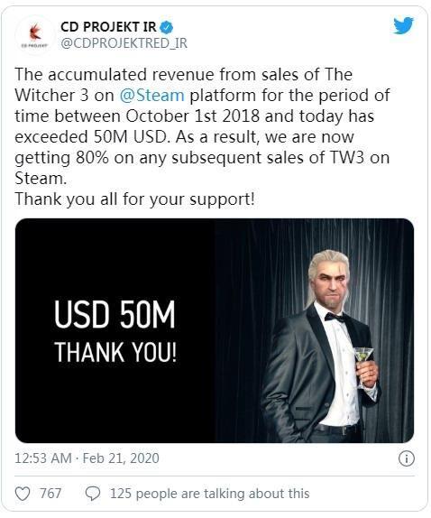 steam版《巫师3:狂猎》销售收入已超5000万美元