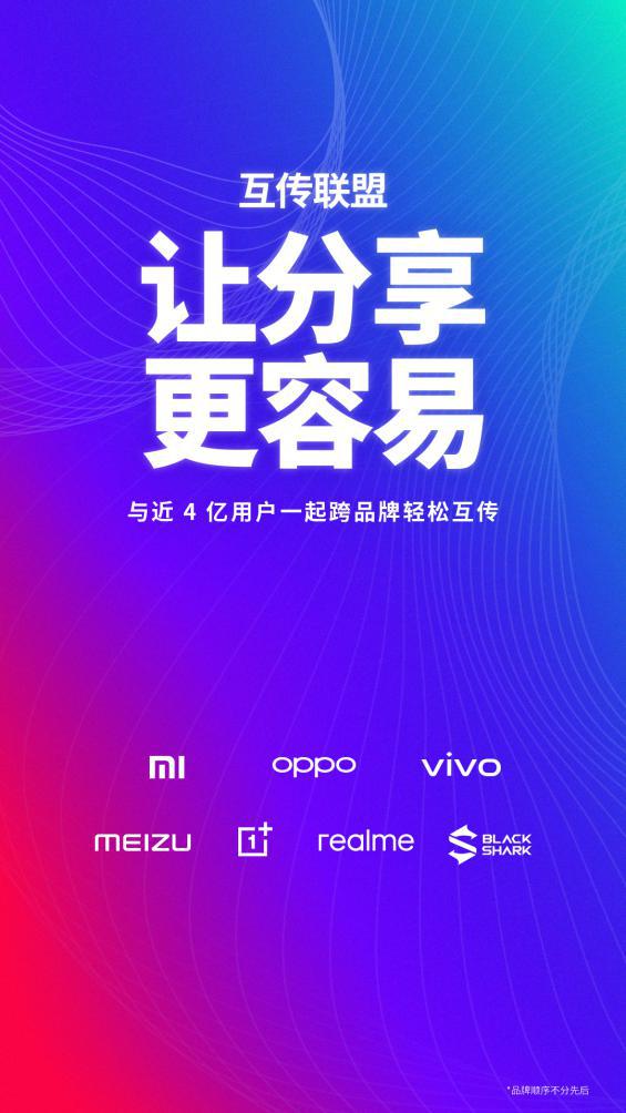 """7大品牌手机联合宣布加入""""互传联盟"""" 无需安装第三方应用"""
