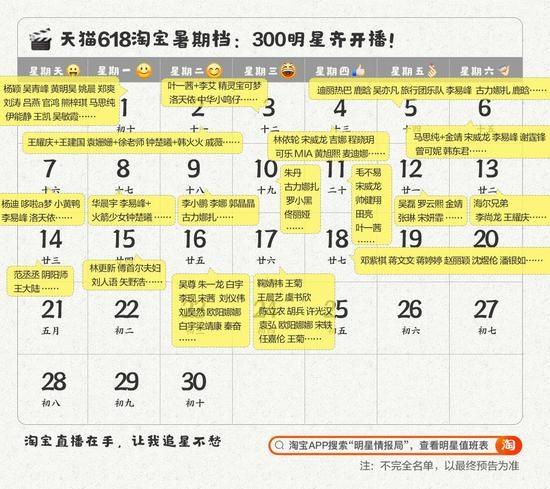天猫618公布首批明星直播名单 300多明星集体上淘宝直播