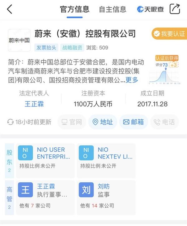 蔚来上海汽车有限公司的股东出现变动 已成为有国资背景的企业